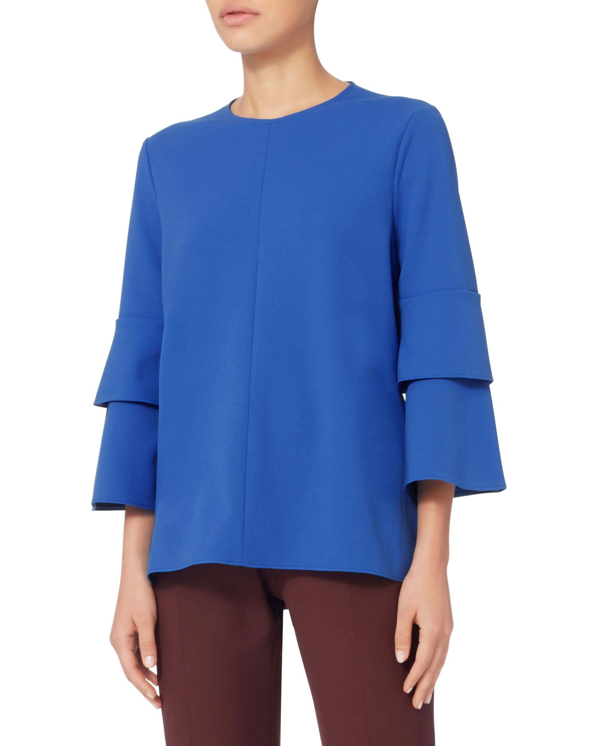 Layered Bell Sleeve Blouse, BLUE, hi-res