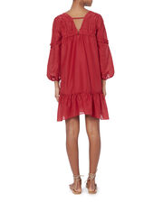 Bell Sleeve Ruffle Dress, RED, hi-res