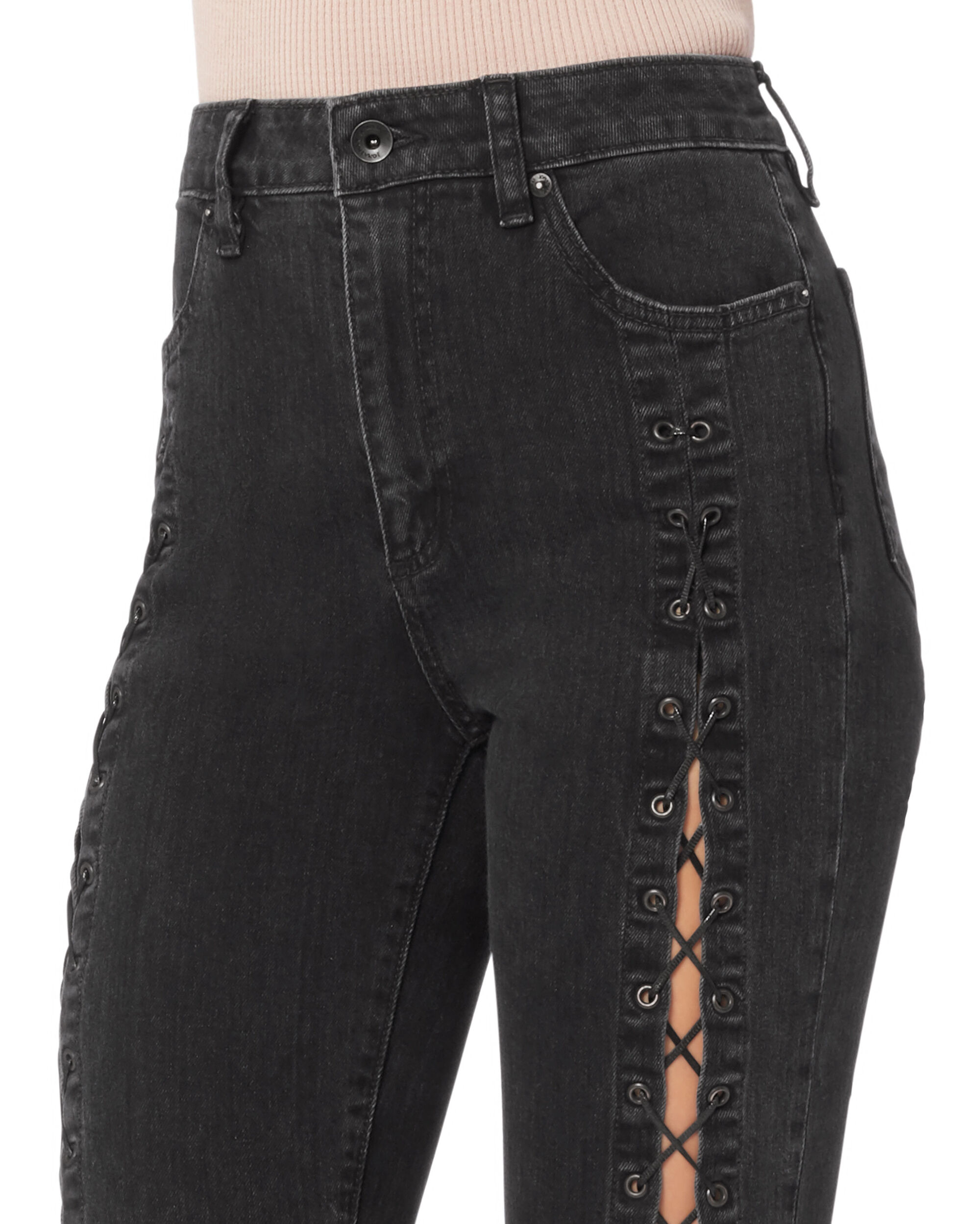 Lace-Up Stovepipe Jeans, DENIM, hi-res