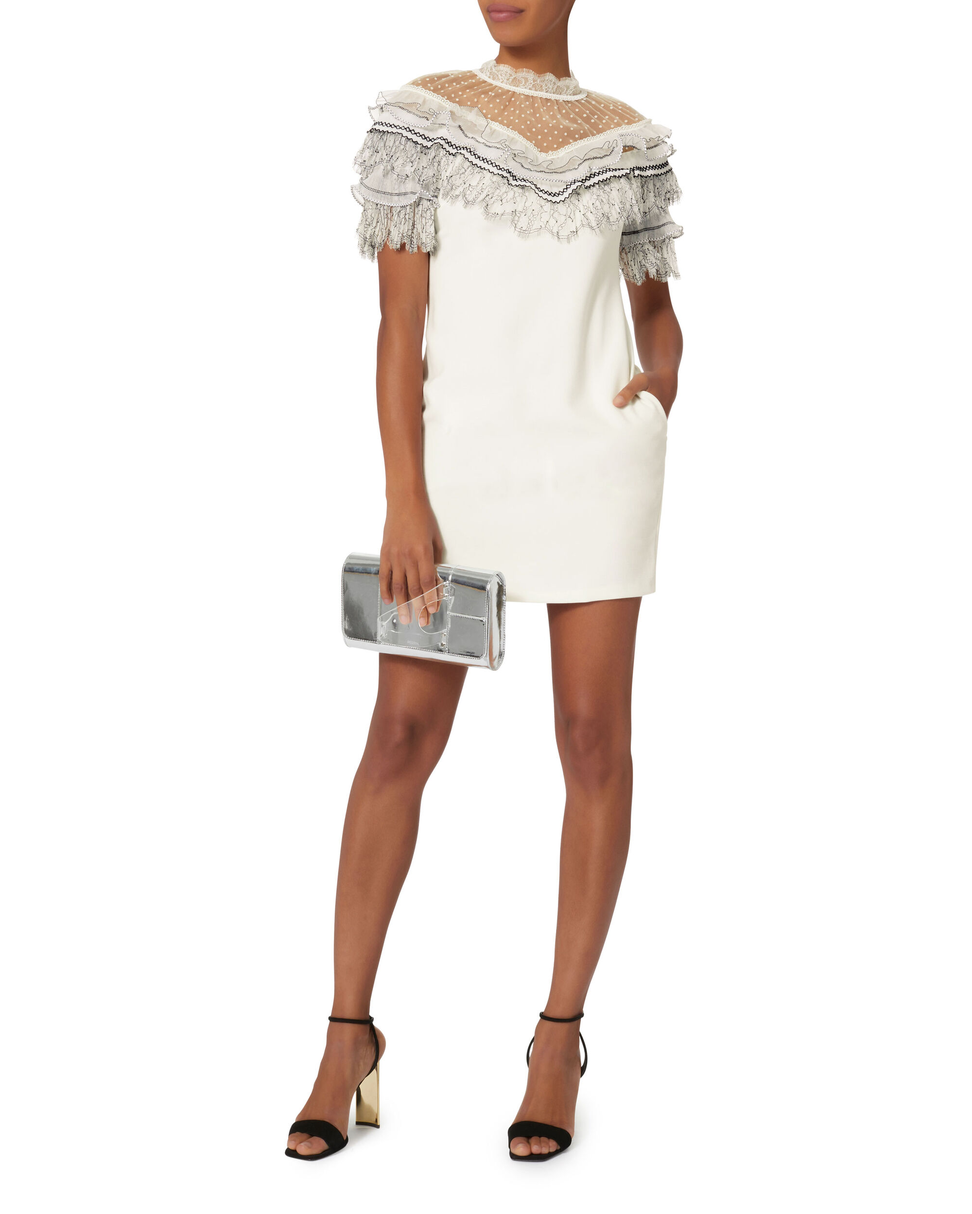 Pleated Lace Trim Mini Dress, WHITE, hi-res