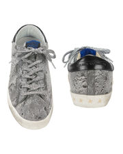 Superstar All Over Silver Glitter Sneakers, WHITE, hi-res