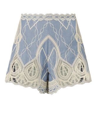 Chambray Crochet Embroidered Shorts, DENIM-LT, hi-res