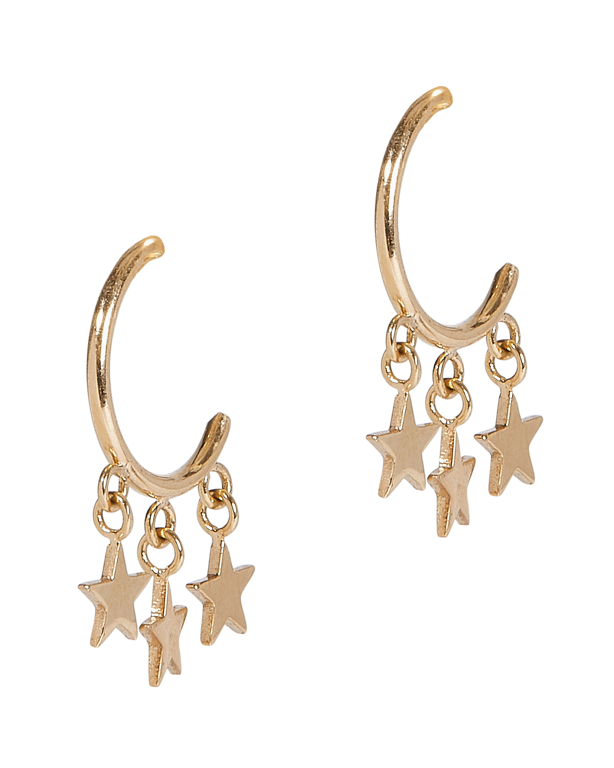 Itty Bitty Dangling Star Huggie Hoops, GOLD, hi-res