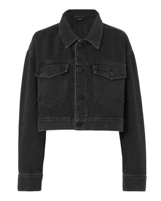 Oversized Faded Black Denim Crop Jacket, GREY, hi-res