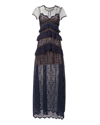 Circular Lace-Panelled Maxi Dress, NAVY, hi-res