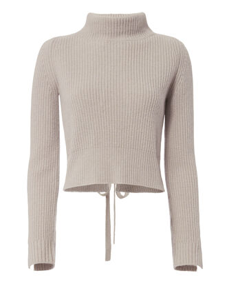 Cashmere Lace Back Cropped Sweater, BEIGE, hi-res