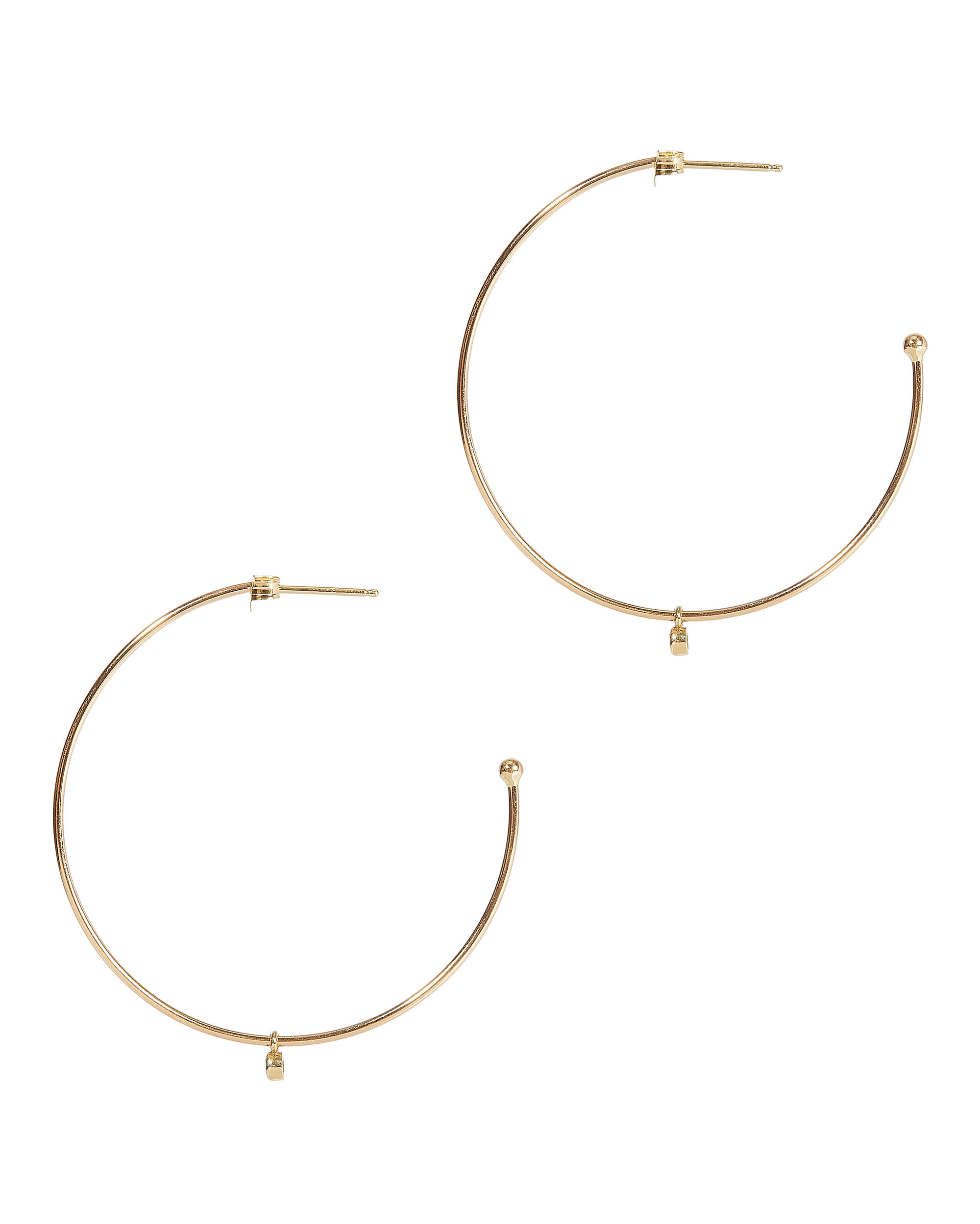 Dangling Diamond Thin Hoops, GOLD, hi-res