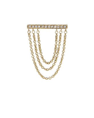 Tripe Chain Diamond Bar Stud Earring, METALLIC, hi-res