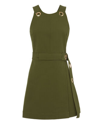 Grommet Detail Twill Dress, GREEN, hi-res