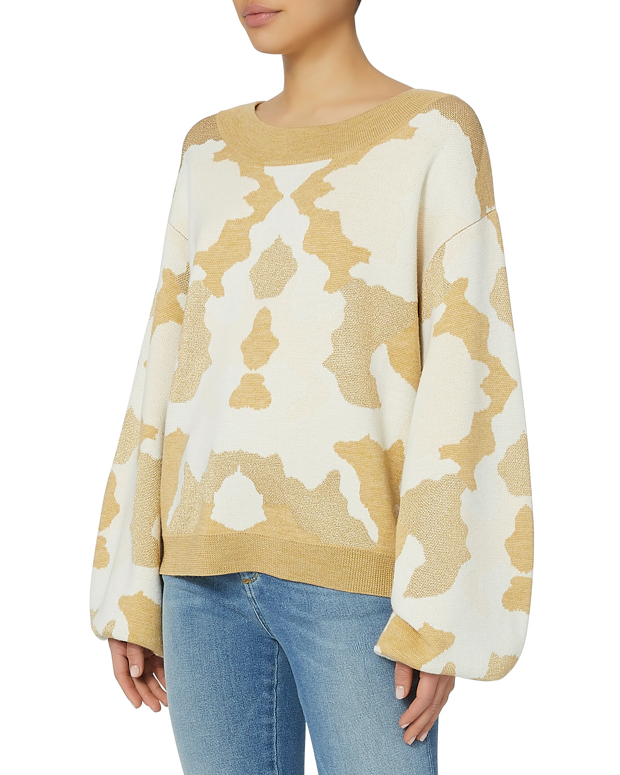 Camo Balloon Sleeve Sweater, PATTERN, hi-res