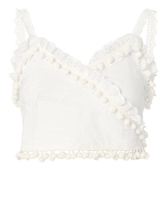 Miramas Lace-Up Back Crop Top, WHITE, hi-res