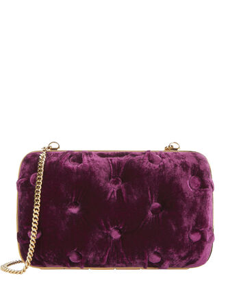 Carmen Tufted Velvet Clutch, RED, hi-res