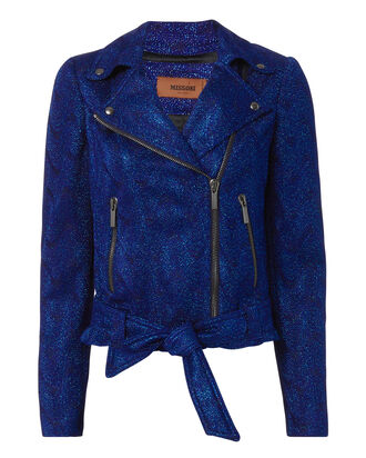 Blue Lurex Moto Jacket, BLUE, hi-res