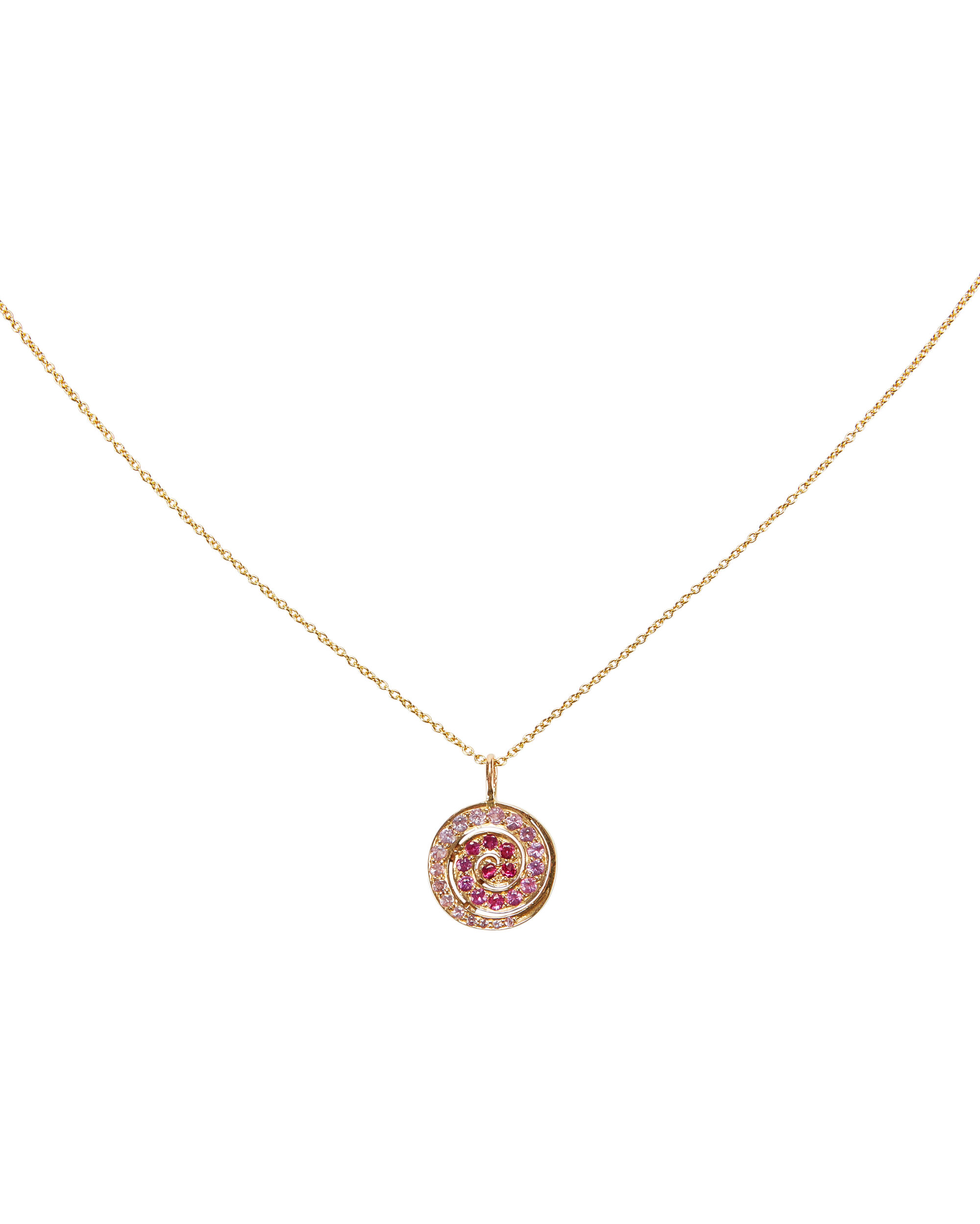 Pink Sapphire Spiral Pendant Necklace, GOLD, hi-res