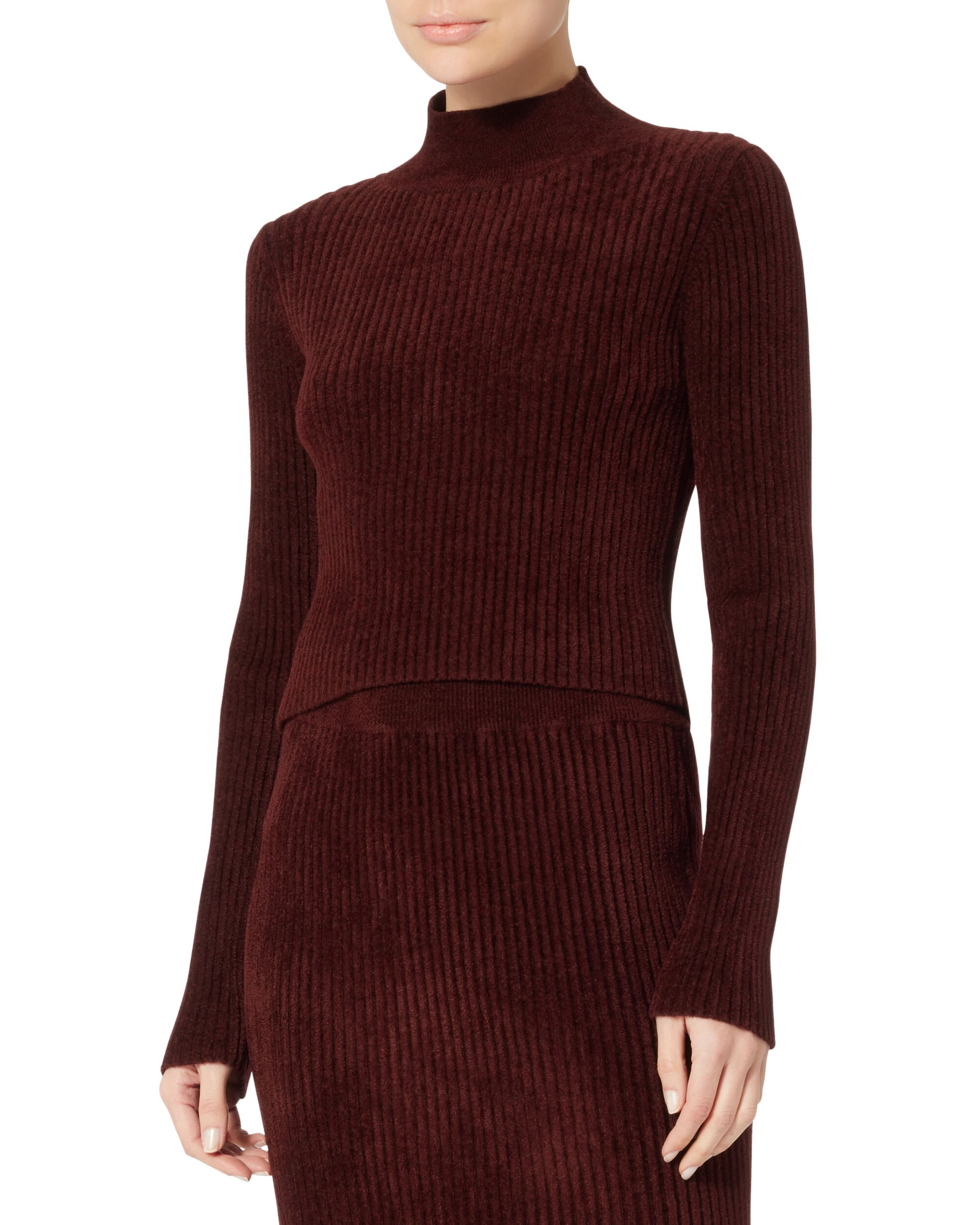 Cropped Ribbed Sweater, PURPLE-DRK, hi-res