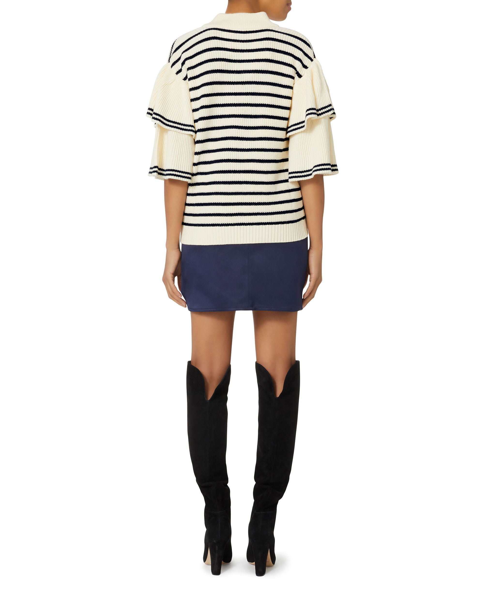 Lace-Up Frilled Striped Sweater, IVORY, hi-res
