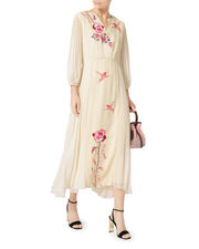 Olivia Bird Print Pleated Dress, IVORY, hi-res