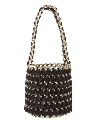 Gold Chain Black Shimmer Bucket Bag, BLACK, hi-res