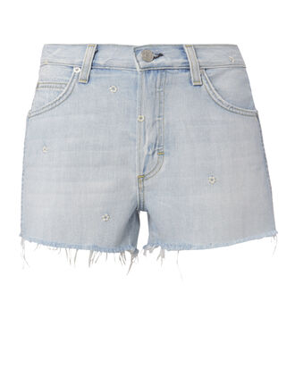 Babe Floral Embroidery Cut Off Shorts, DENIM, hi-res