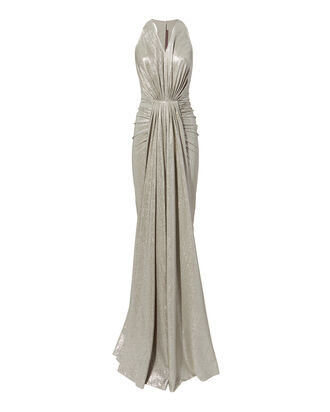 Ruched Metallic Gown, METALLIC, hi-res