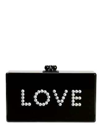 Jean Pearl-Embellished Love Clutch, BLACK, hi-res