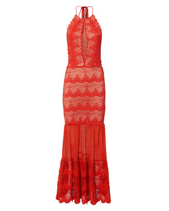 Belle Nuit Halter Maxi Dress, RED, hi-res