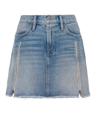 Le High Zip Detail Mini Skirt, DENIM, hi-res