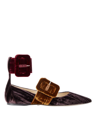 Manu Colorblock Velvet Two-Strap Flats, MULTI, hi-res