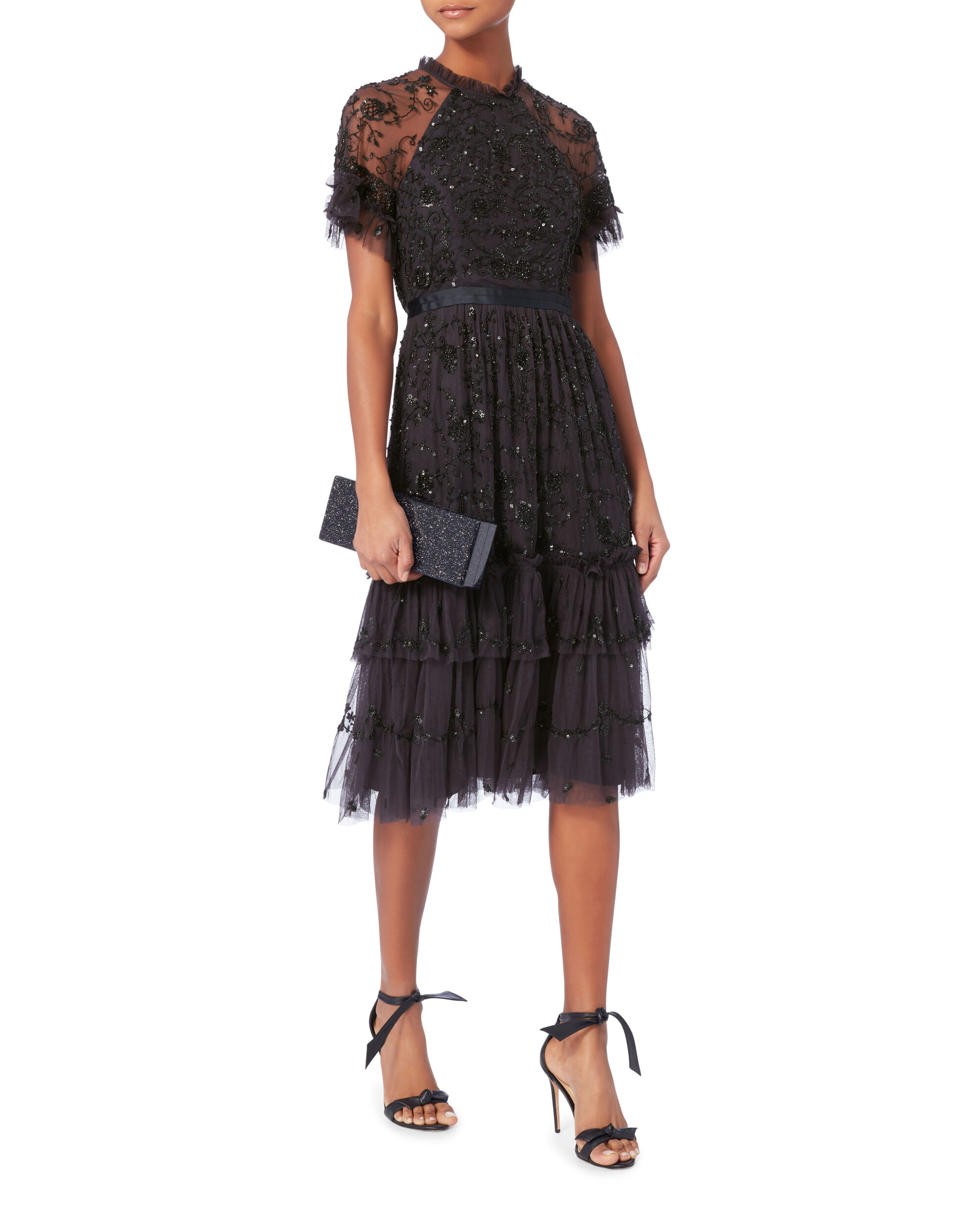 Constellation Lace Midi Dress, NAVY, hi-res