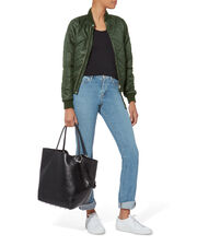 Neil Olive Green Quilted Bomber Jacket, OLIVE/ARMY, hi-res