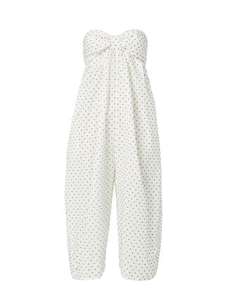 Strapless Cropped Polka Dot Jumpsuit, PRINT, hi-res