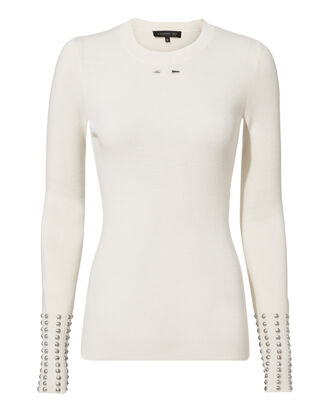 Studded Knit Top, IVORY, hi-res