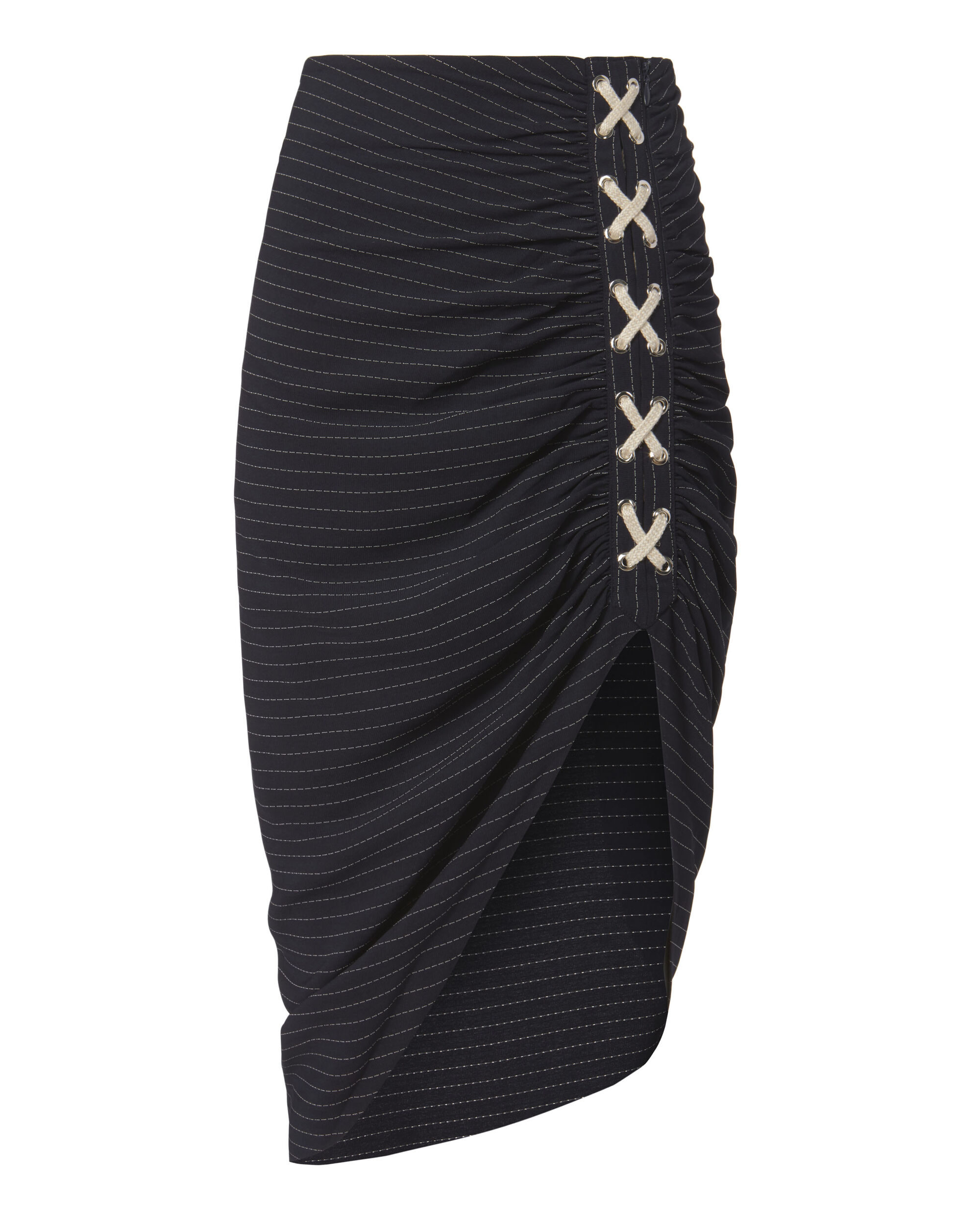 Marlow Lace-Up Ruched Skirt, NAVY, hi-res