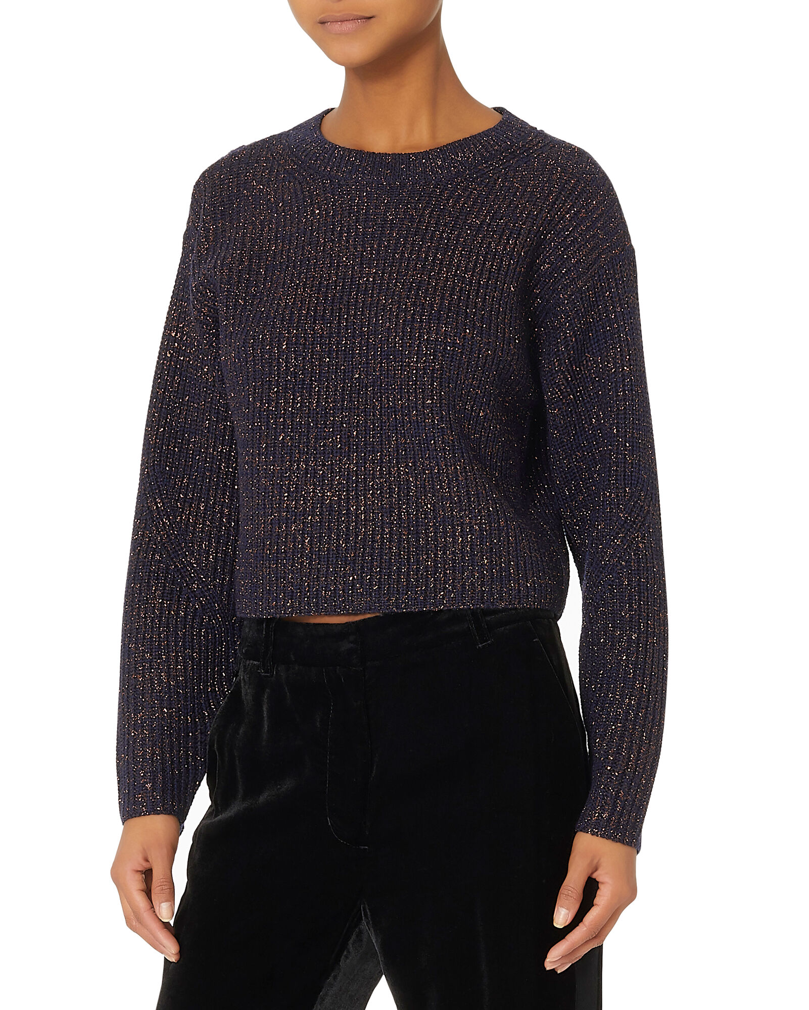 Jubilee Lurex Navy Cropped Sweater