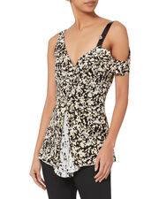 Floral-Pleated Asymmetric Top, PRINT, hi-res