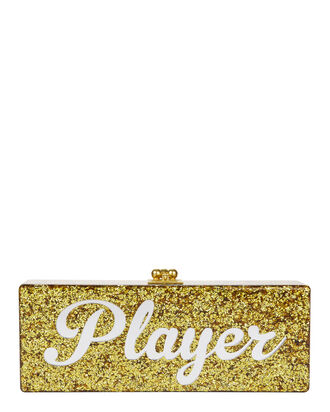 "Flavia ""Player"" Gold Confetti Clutch, METALLIC, hi-res"