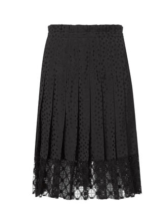 Black Star Print Pleated Skirt, BLACK, hi-res