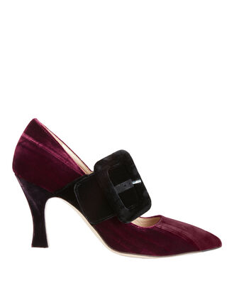 Elsa Crushed Velvet Pumps, BROWN, hi-res