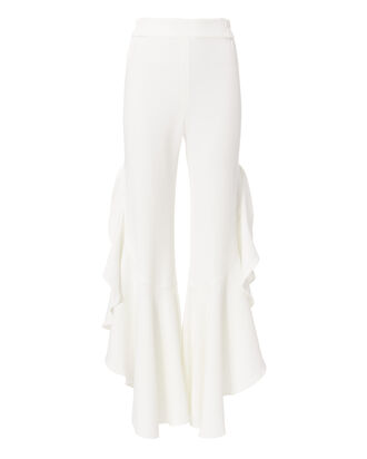 White Long Ruffle Pants, WHITE, hi-res