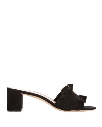 Vera Ruffled Suede Sandals, BLACK, hi-res