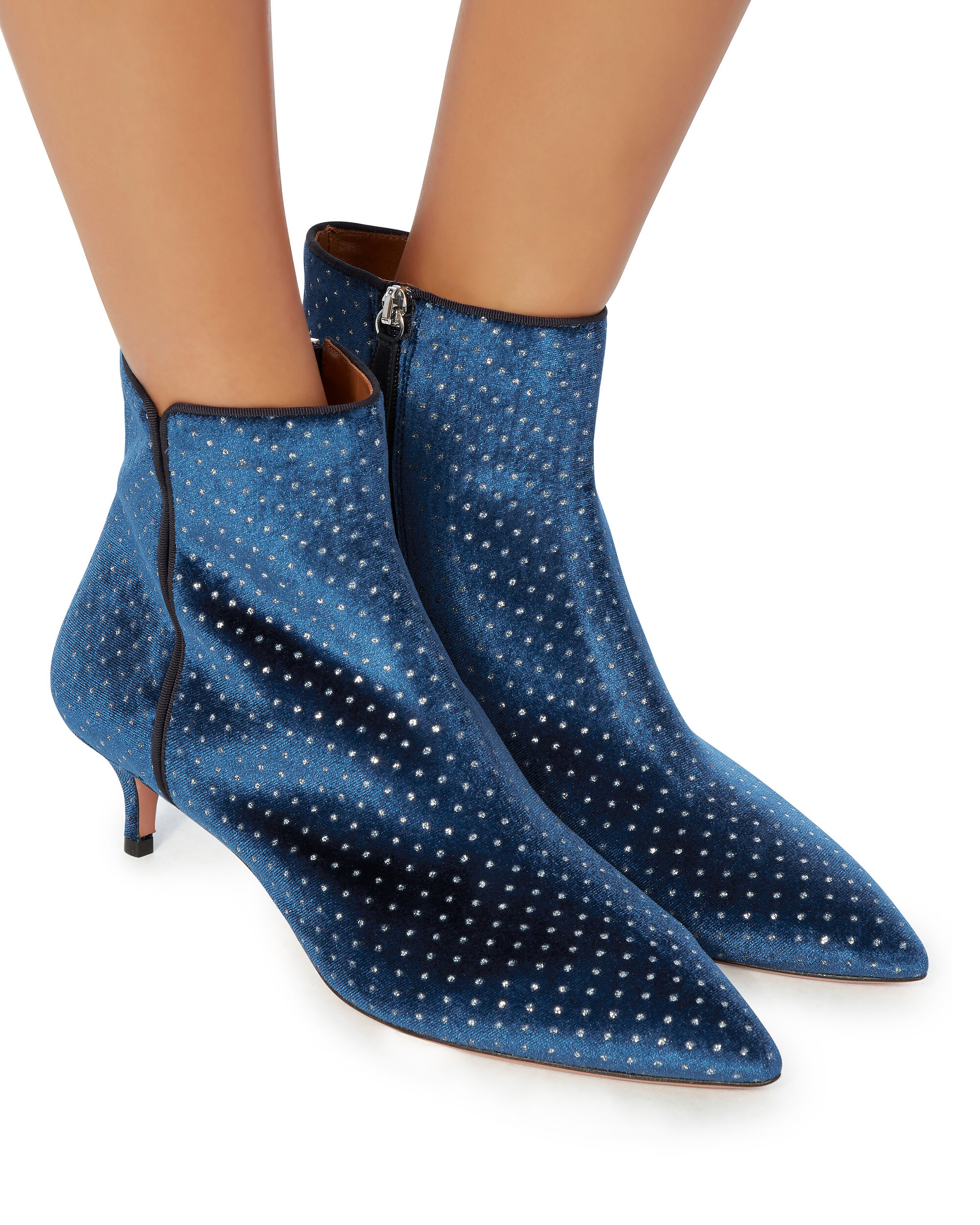 Polka Dot Embroidered Quant Booties, BLUE, hi-res