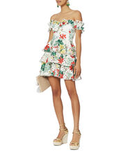 Helena Printed Lace Tiered Dress, WHITE, hi-res