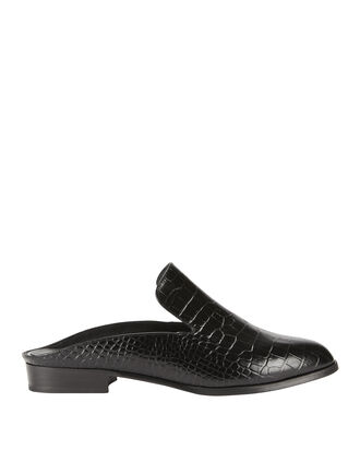 Alice Black Croc Leather Slides, BLACK, hi-res