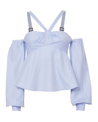 Herringbone Cold Shoulder Top, BLUE-LT, hi-res