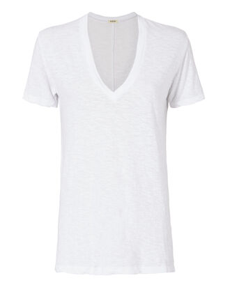 White Oversized V-Neck Tee, WHITE, hi-res