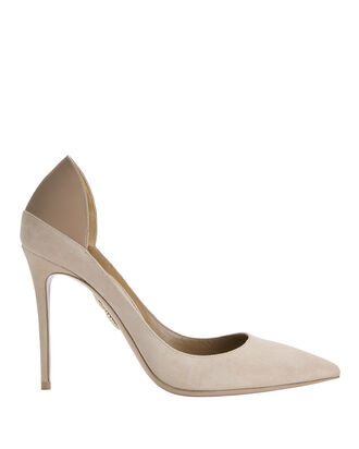 Fellini Blush Suede Patent Leather Pumps, NUDE, hi-res