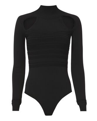 Mock Neck Cutout Knit Bodysuit, BLACK, hi-res