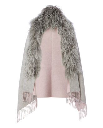 Shearling Collar Reversible Shawl, GREY, hi-res