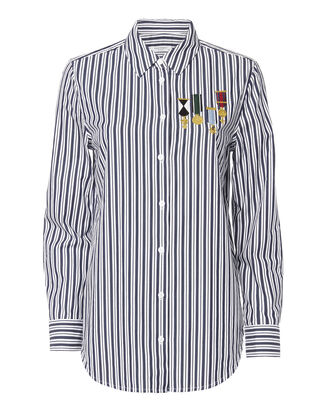 Medal Embroidered Striped Shirt, PATTERN, hi-res