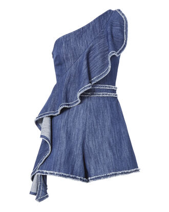 Blakely One Shoulder Denim Romper, DENIM, hi-res